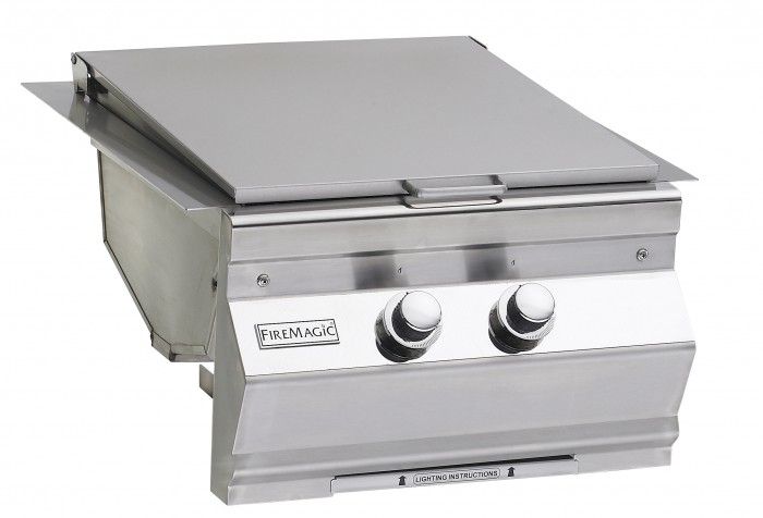 Fire Magic Aurora Built-In Double Searing Station Side Burner Closed Lid