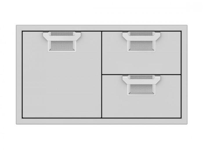 Aspire by Hestan 36-Inch Double Drawer and Storage Door Combo