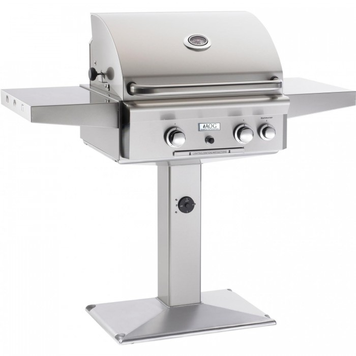 AOG 24 Inch Gas Grill with Rotisserie On Pedestal Base