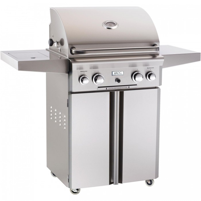 AOG 24 Inch Gas Grill with Rotisserie and Side Burner On Cart