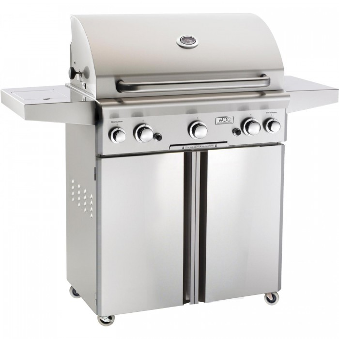 AOG 30 Inch Gas Grill On Cart with Rotisserie and Side Burner