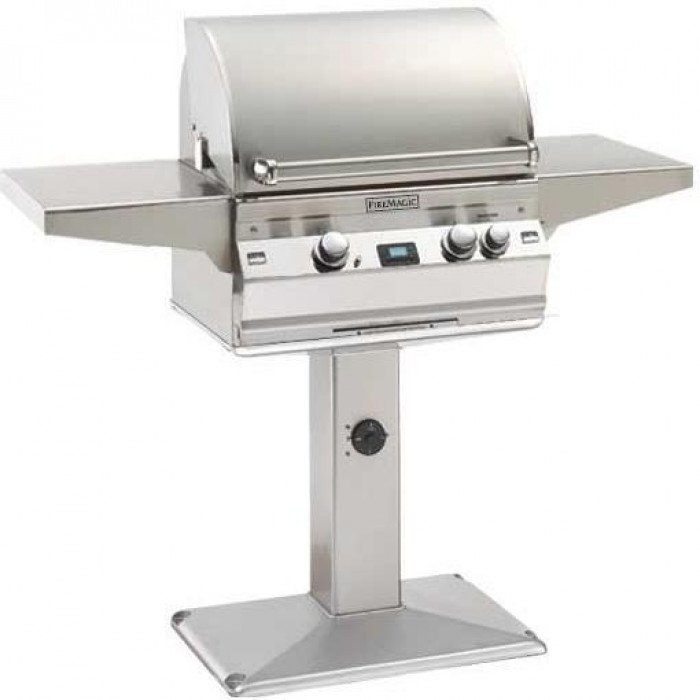 Fire Magic Aurora A430 Gas Grill With One Infrared Burner And Rotisserie (NOT INCLUDED) On Patio Post