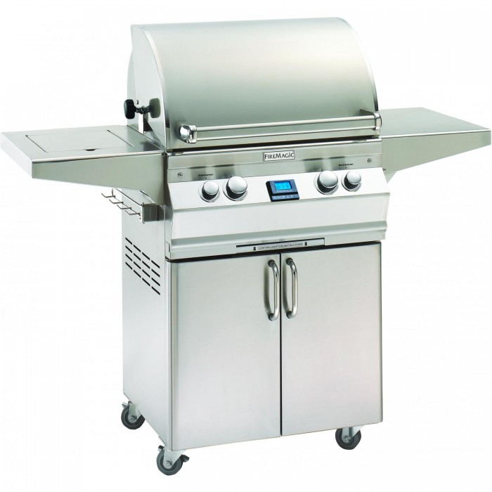 Fire Magic Aurora A430sGas Grill With Single Side Burner And Rotisserie On Cart