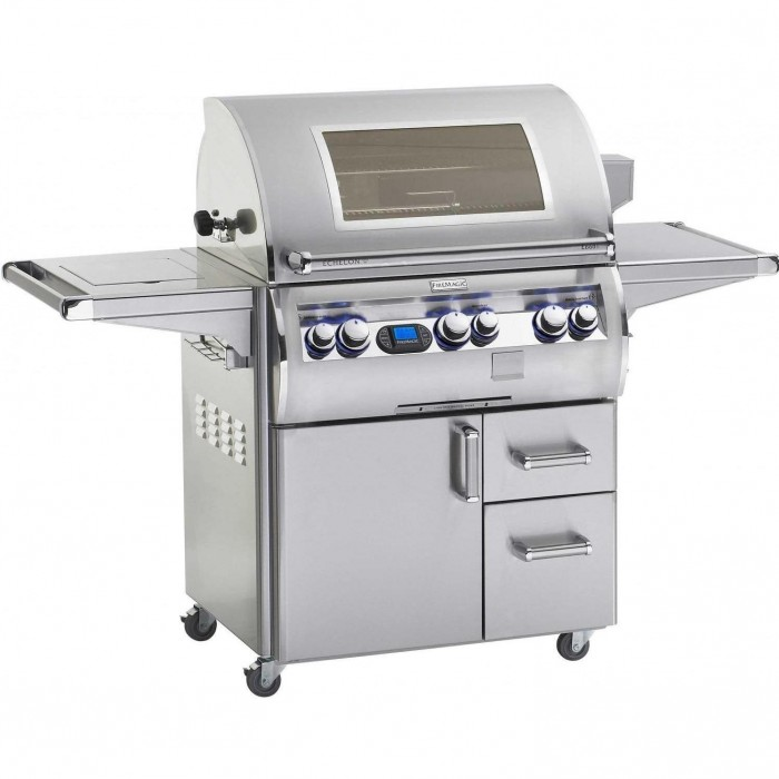 Fire Magic Echelon Diamond Gas Grill With Single Side Burner And Magic View Window On Cart