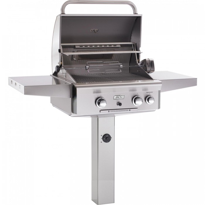 AOG 24 Inch Gas Grill with Rotisserie On In-Ground Post - Open