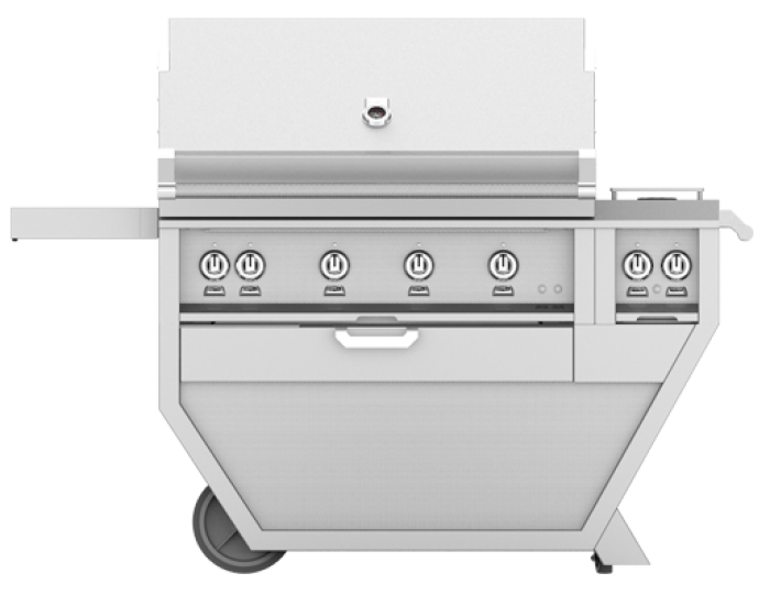 Hestan 42-Inch Deluxe Grill On Cart, All Trellis with Rotisserie and Double Side Burner HS-GABR42CX2