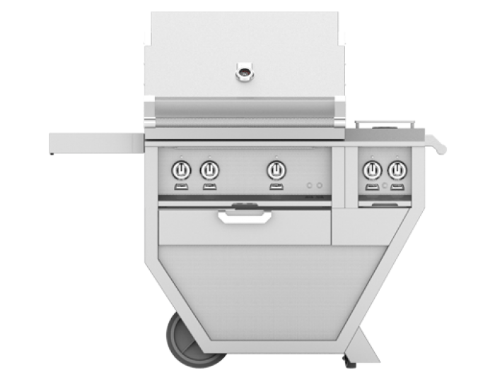 Hestan 30-Inch Deluxe Grill on Cart, Trellis and Sear Burners with Rotisserie and Double Side Burner HS-GMBR30CX2