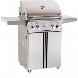 American Outdoor Grill L-Series 24-Inch Propane Gas Grill On Cart with Rotisserie and Side Burner