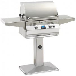 Fire Magic Aurora A430s Natural Gas Grill With Rotisserie On Patio Post