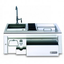 Lynx 30 Inch Built In Cocktail Station With Sink and Ice Bin Cooler - Full View