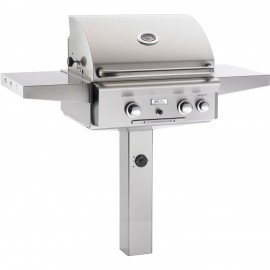 AOG American Outdoor Grill T-Series 24 Inch Grill W Rotisserie On In-Ground Post