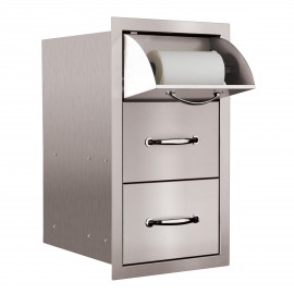 North American 17-Inch Stainless Steel Vertical 2 Drawer & Paper Towel Holder Combo SSTDC-17