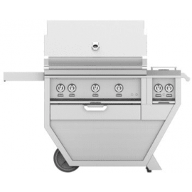Hestan 36-Inch Deluxe Grill on Cart, Trellis and Sear Burners with Rotisserie and Double Side Burner HS-GMBR36CX2