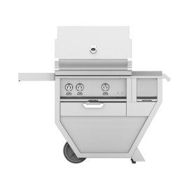 Hestan 30-Inch Deluxe Grill on Cart, Trellis and Sear Burners with Rotisserie and Worktop HS-GMBR30CX