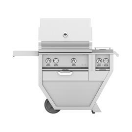Hestan 30-Inch Deluxe Grill on Cart, All Sear Burners with Rotisserie and Double Side Burner HS-GSBR30CX2