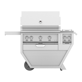 Hestan 36-Inch Deluxe Grill on Cart, All Trellis with Rotisserie and Double Side Burner HS-GABR36CX2